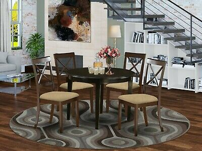 5PC SET ROUND DINETTE KITCHEN TABLE w/ 4 MICROFIBER UPHOLSTERED CHAIR CAPPUCCINO