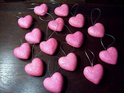 "NEW 1 1/2"" PINK HEART GLITTER VALENTINE ORNAMENTS SET of 15 PUFFED HEART HANGING"