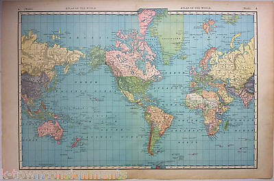 Atlas of the World Large Antique Graphic Engraving Map Poster Print 1890s