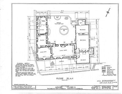 Southwestern style architectural drawings, traditional adobe home with courtyard