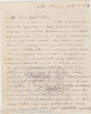 North Haven Ct Antique Handwritten Letter Citing Cholera Rampant In Albany 1854