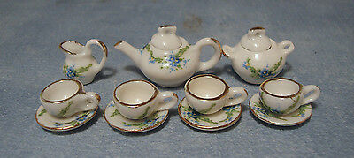 1:12 Scale Floral Motif White Ceramic 11 Piece Tea Set Tumdee Dolls House 2178