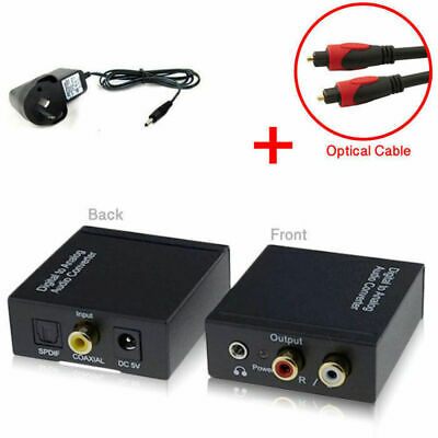 Digital To Analog Optical Coaxial Toslink RCA Audio Converter Adapter 3.55mm