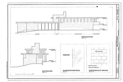 Frank Lloyd Wright architectural drawings,  modern light filled Boulter home