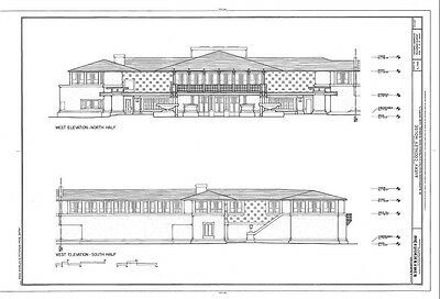 Frank Lloyd Wright Prairie Style home, architectural drawings, Coonley House