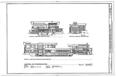 Frank Lloyd Wright Prairie House plans architectural drawings