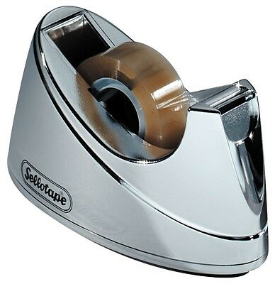 Sellotape Chrome Heavy Duty Non Slip Deskop Tape Dispenser For Small 33m Tape