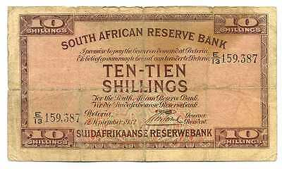 South Africa South African Reserve Bank 10 Shillings 12th Sep 1932 VG/F #82d