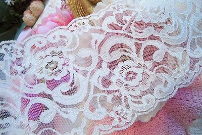 """3~yds 4~3/4"""" Vintage Exquisite~Embroidered~Lace~Trim~ Ivory SO SOFT!! ~Baby Doll"""