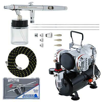 PRO SET 3 Tip 0.3 0.5 0.8 Siphon Dual-Action Airbrush Kit Twin Piston Compressor