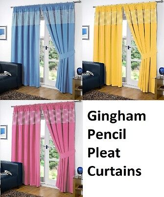 CHILDRENS GINGHAM Thermal Blackout  Curtains PENCIL PLEAT + FREE TIE BACKS