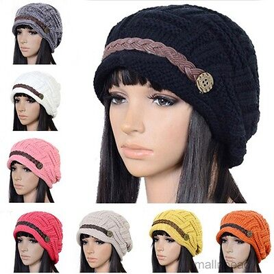 Women Braided Winter Warm Baggy Beanie Knit Oversized Slouch Crochet Ski Hat Cap