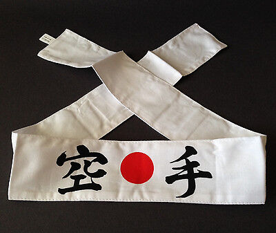 "Japanese Martial Arts Sports Cotton Hachimaki ""KARATE"" Headband, Made in Japan"