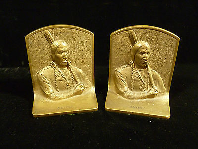 Signed Solid Bronze Native American Indian Chief Avona Book Ends – Circa 1910
