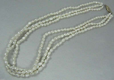 Vintage multi strand fresh water rice pearl necklace silver clasp
