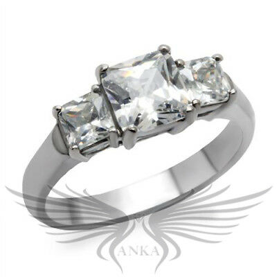 3 STONE PRINCESS RUSSIAN LAB CREATED SIM DIAMOND RING Past Present Future TK058