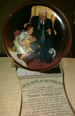 """1988 Knowles Norman Rockwell """"Tender Loving Care"""" Collector Plate # 326D"""