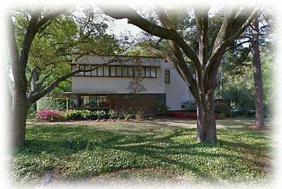 Spacious Mid-Century Modern home, architectural plans, stucco brick glass block