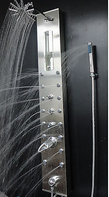 "52"" BATHROOM STAINLESS STEEL 16 JETS & SPRAY MASSAGE SHOWER PANEL W/ VIDEO CLIP"