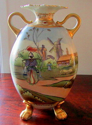 NIPPON OLD NORITAKE FOOTED VASE DUTCH SCENE BLUE MAPLE LEAF MARK X-CONDITION