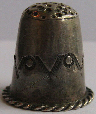 Vintage Navajo Indian Stamped Designs Silver Thimble