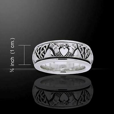 Celtic CLADDAGH Band Silver SPINNER Ring - .925 sterling silver