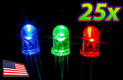 [25x] 5mm RGB Bright LED Common ANODE 4-Pin Tri-Color - Ships FREE from USA!