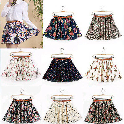 NEW Ladies Retro High Waist Pleated Floral Chiffon Sheer Short Mini Skirt Dress
