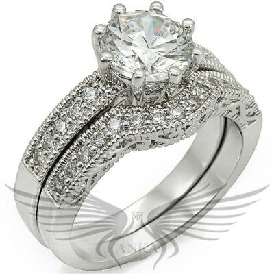 Brilliant Round Cut Lab Created Russian Sim Diamond Engagement Ring & Band 1W007