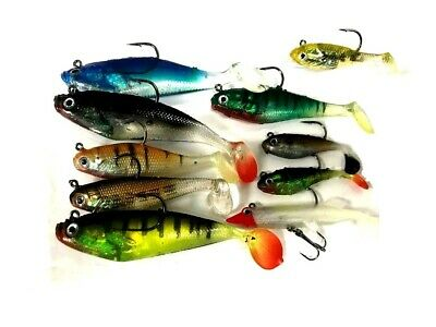 10 x For Real Assorted Shad Lures Soft Bait Fishing Shads / Treble Hooks