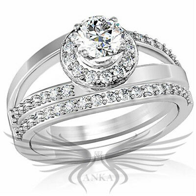 CLASSY ROUND CUT LAB CREATED RUSSIAN SIM DIAMOND ENGAGEMENT RING & BAND 1w164