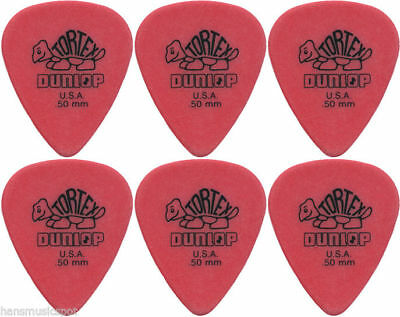 6 x Jim Dunlop Tortex Standard .50MM Gauge Guitar Picks *NEW* Plectrums, Red