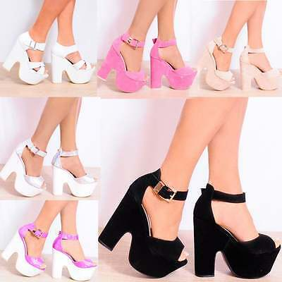 LADIES WOMENS ANKLE CUFF PLATFORMS CHUNKY BLOCK HEEL WEDGES WEDGED HIGH HEELS
