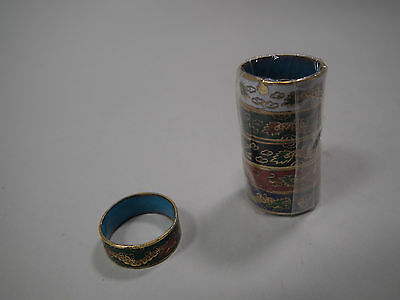 Cloisonne Emaille China Japan Serviettenring Ø außen 20 mm Höhe 8 mm 5 er Set