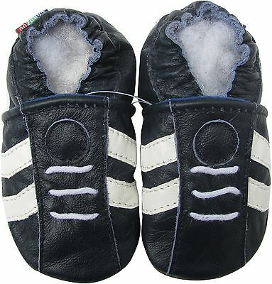 carozoo sports dark blue 6-12m new soft sole leather baby shoes