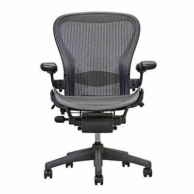 """2 (Two) Carbon Black Herman Miller Fully Loaded Size B Aeron Chairs """"NEW"""""""