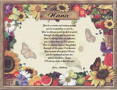 NANA PERSONALIZED POEM BIRTHDAY OR CHRISTMAS GIFT
