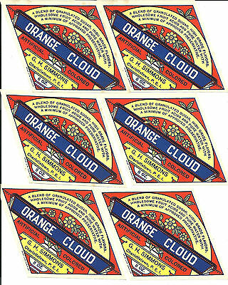 lot of 6 G.H.Simmons Charlottetown PEI labels orange cloud