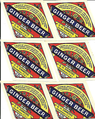 lot of 6 G.H.Simmons Charlottetown PEI labels ginger beer
