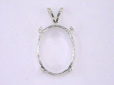 Oval Fancy Cabochon Pendant Setting Sterling Silver