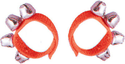 DXP Wrist Bells, Pair, Red *NEW* 4 bells attached to a strap with Velcro ends