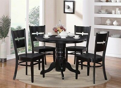5-PC SHELTON ROUND KITCHEN TABLE w/ 4 ROCKVILLE WOOD SEAT CHAIRS IN BLACK FINISH