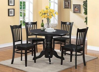 5-PC SHELTON ROUND DINETTE KITCHEN TABLE with 4 WOOD SEAT CHAIRS IN BLACK FINISH