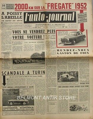 L'Auto-journal n°54 - 1952 - Frégate Renault - Citroën 11 B - Ferrari bat Merce