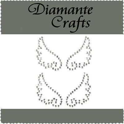 2 x 33mm Clear Diamante Angel Wings Self Adhesive Rhinestone Craft Embellishment