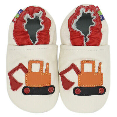 carozoo excavator cream 3-4y soft sole leather toddler shoes slippers
