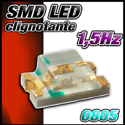 138R# LED CMS 0805 clignotante rouge - dispo 10, 25 ou 100pcs - SMD red, rot