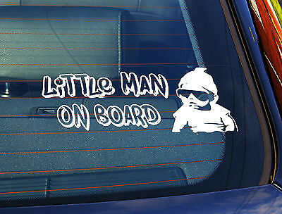Static Cling Window Car Sign/Decal Sticker Little Man On Board Baby Sunglasses