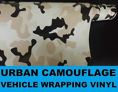 Urban Camouflage Vinyl 30 x 20cm- A4 Sheet  - Bubble Free Camo Car Wrap Sticker