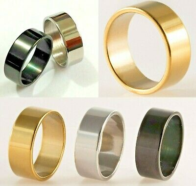 8mm Steel Gold Silver Black Plated Mens Wedding Ring Womens Band (Sizes M to Z)